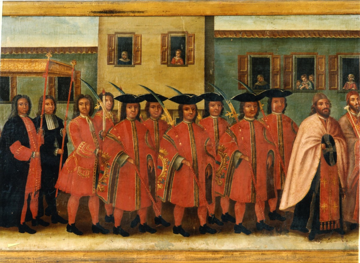 The Litany of St Haralambos, St Haralambos Church near Argassi, Zakynthos showing Zakynthian nobles in procession. Painted by Ioannis Korais, 1756