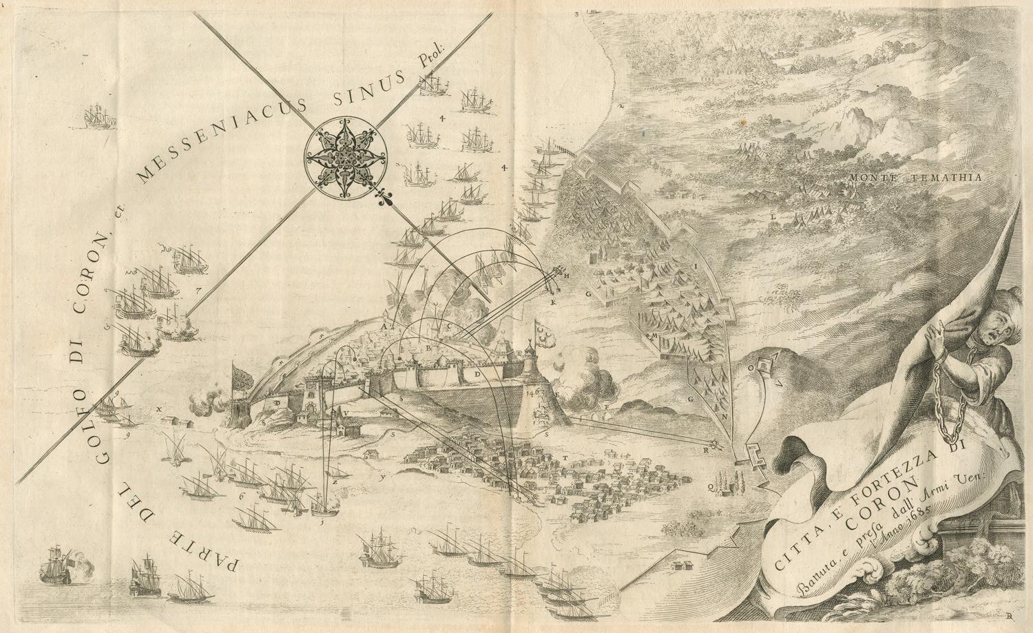 The siege of Koroni by Vincenzo Coronelli, 1688