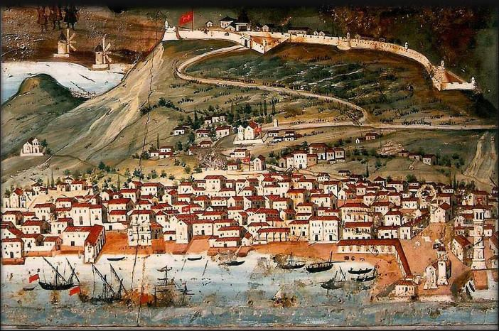 Zakynthos town as depicted in icon of Agios Haralambos wiping out the plague by Nikolaos Kalergis, 1732