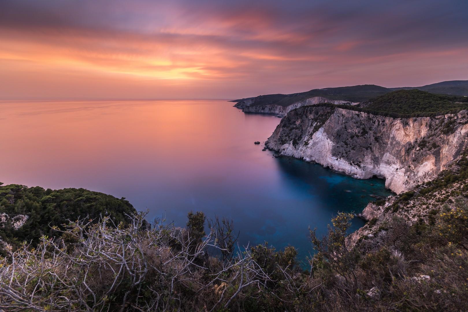 Zakynthos island the beautiful sunset from Keri
