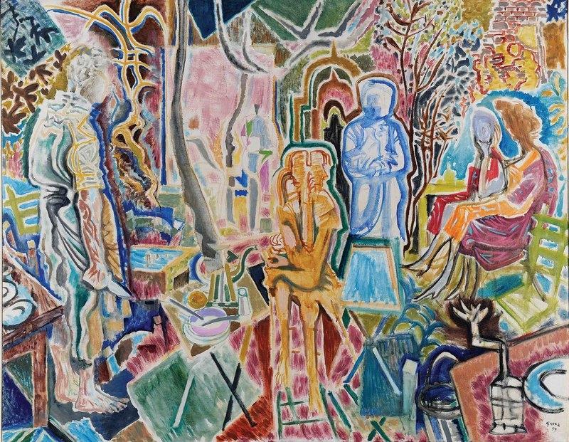 Nikos Hadjikyriakos-Ghika, Evening memories, 1959, oil on canvas, (114x146), National Gallery - Alexander Soutsou Museum