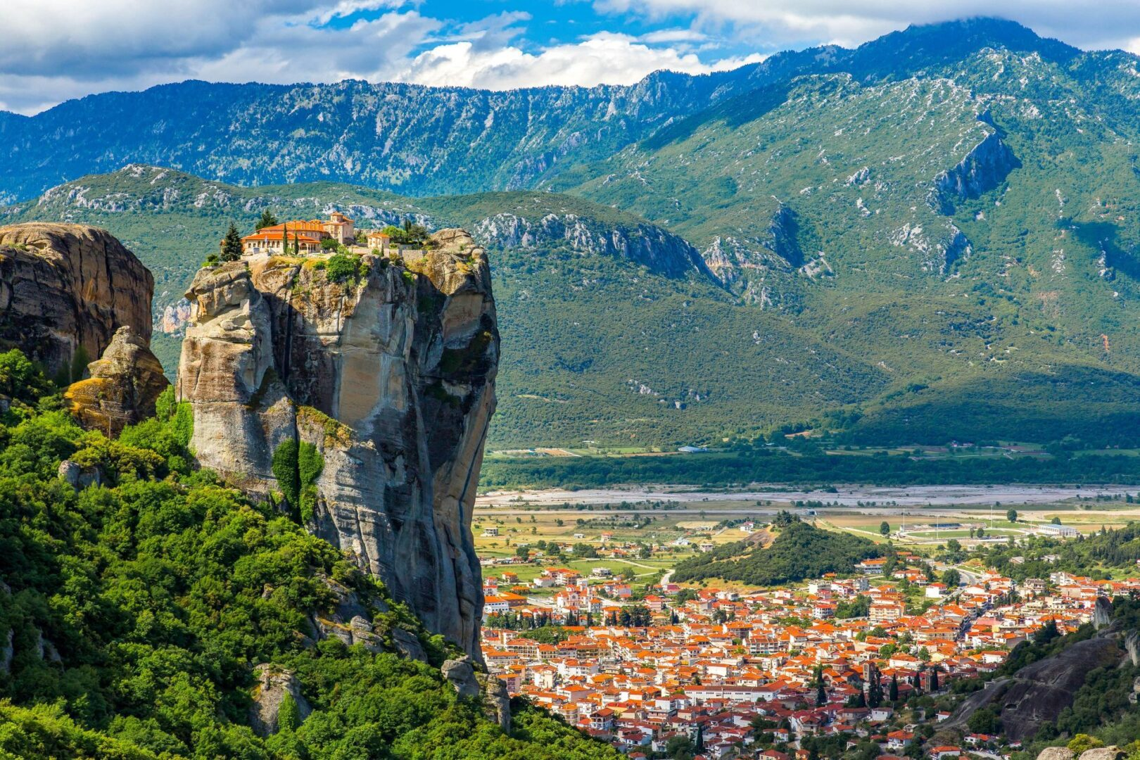 The monasteries of Meteora are located just outside the town of Kalabaka, Greece